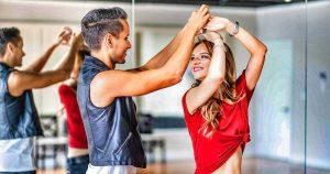 Slender dancers in a dance lesson