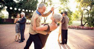 Tango dancing by elderly people